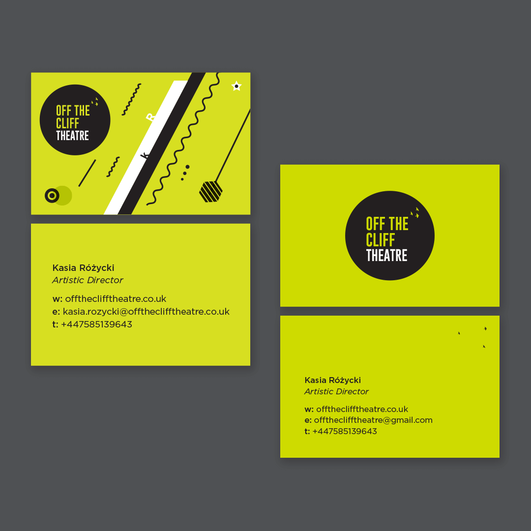 Off The Cliff Thetre_visual identity, business cards