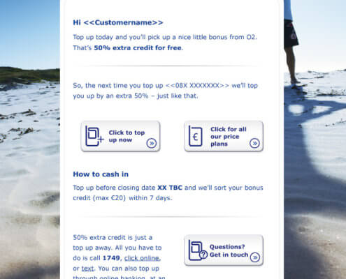 Email newsletter design for O2, year 2013