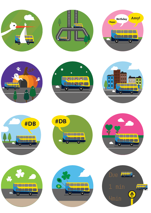 Dublin Bus – illustrations for email newsletters