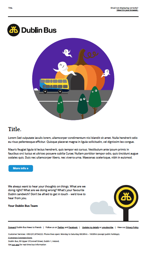 Halloween email newsletter for Dublin Bus.