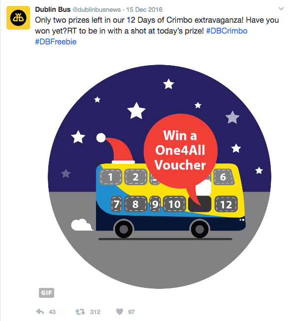 Dublin Bus, 12 Days of Christmas – animated gif; followers' interaction.