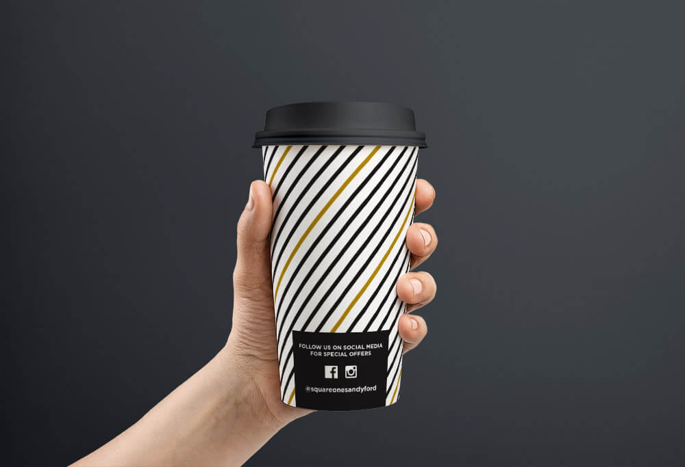 Square One hot drink cup, back