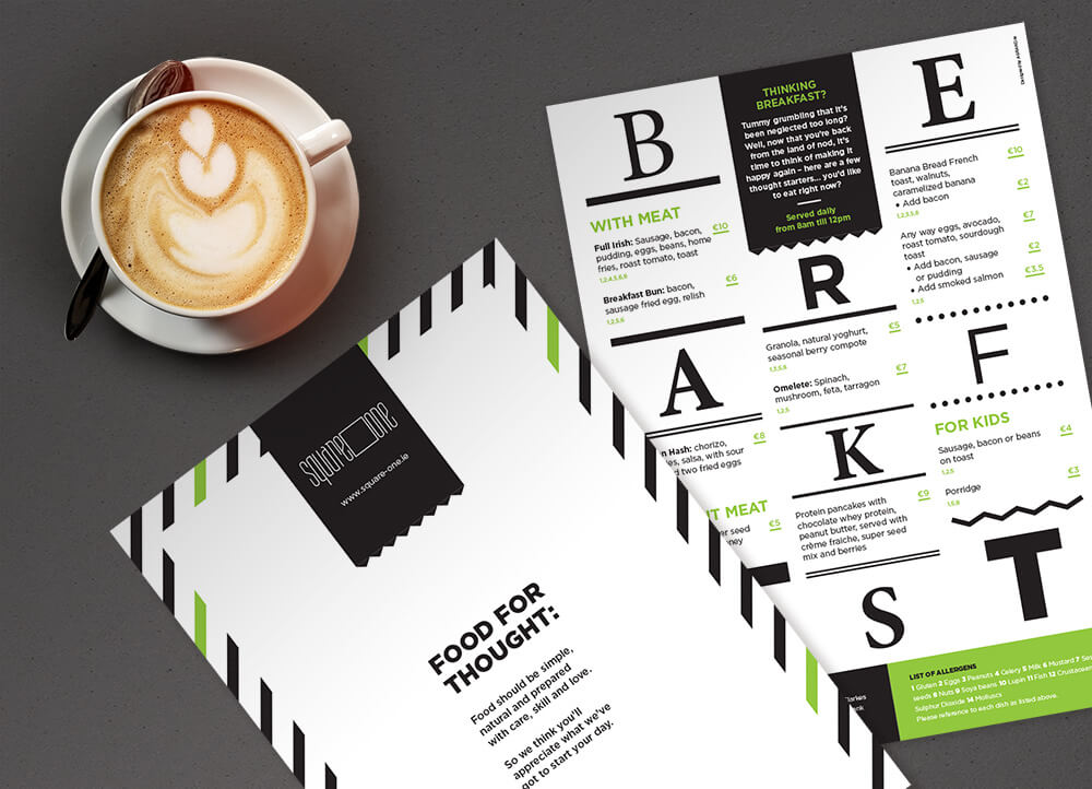 Square One breakfast menu, front and back