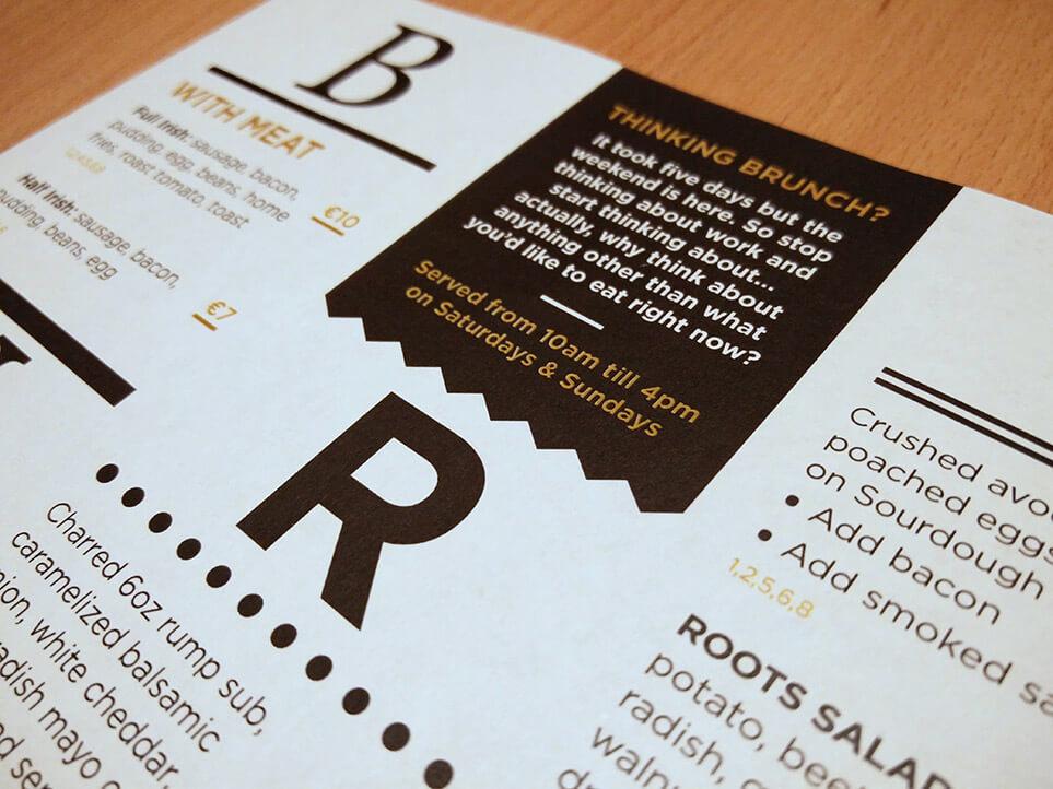 Brunch menu - close up - back