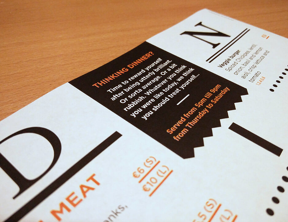 Dinner menu - close up - back