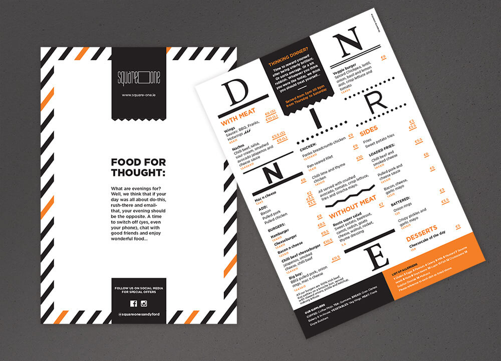 Square One dinner menu, front and back