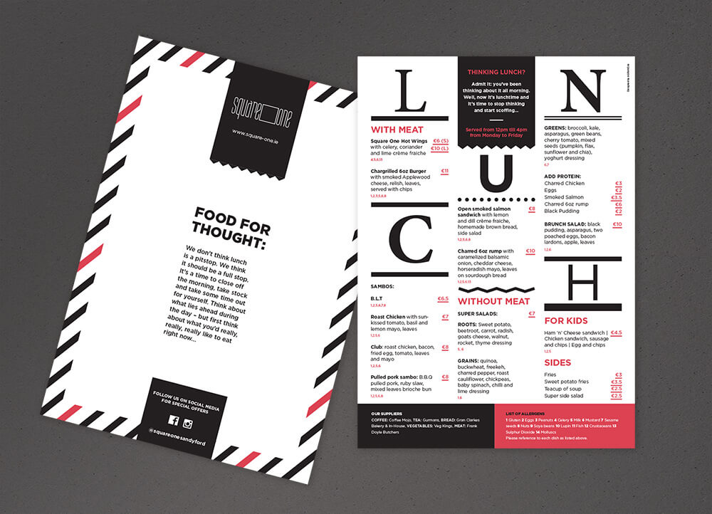 Square One lunch menu, front and back