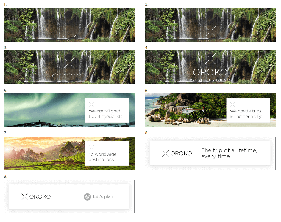 Storyboards and animations for OROKO Travel Agency.