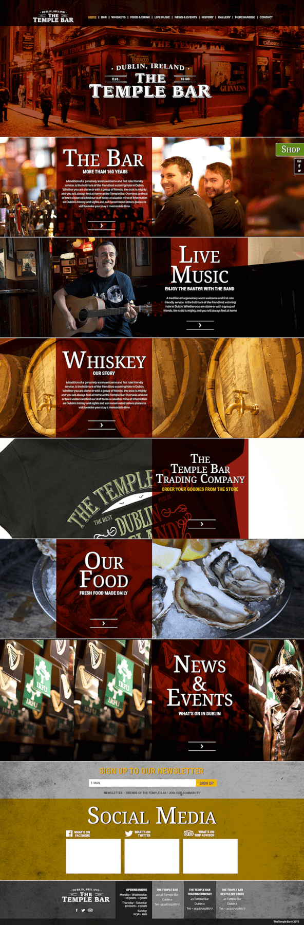 Temple Bar Pub website design