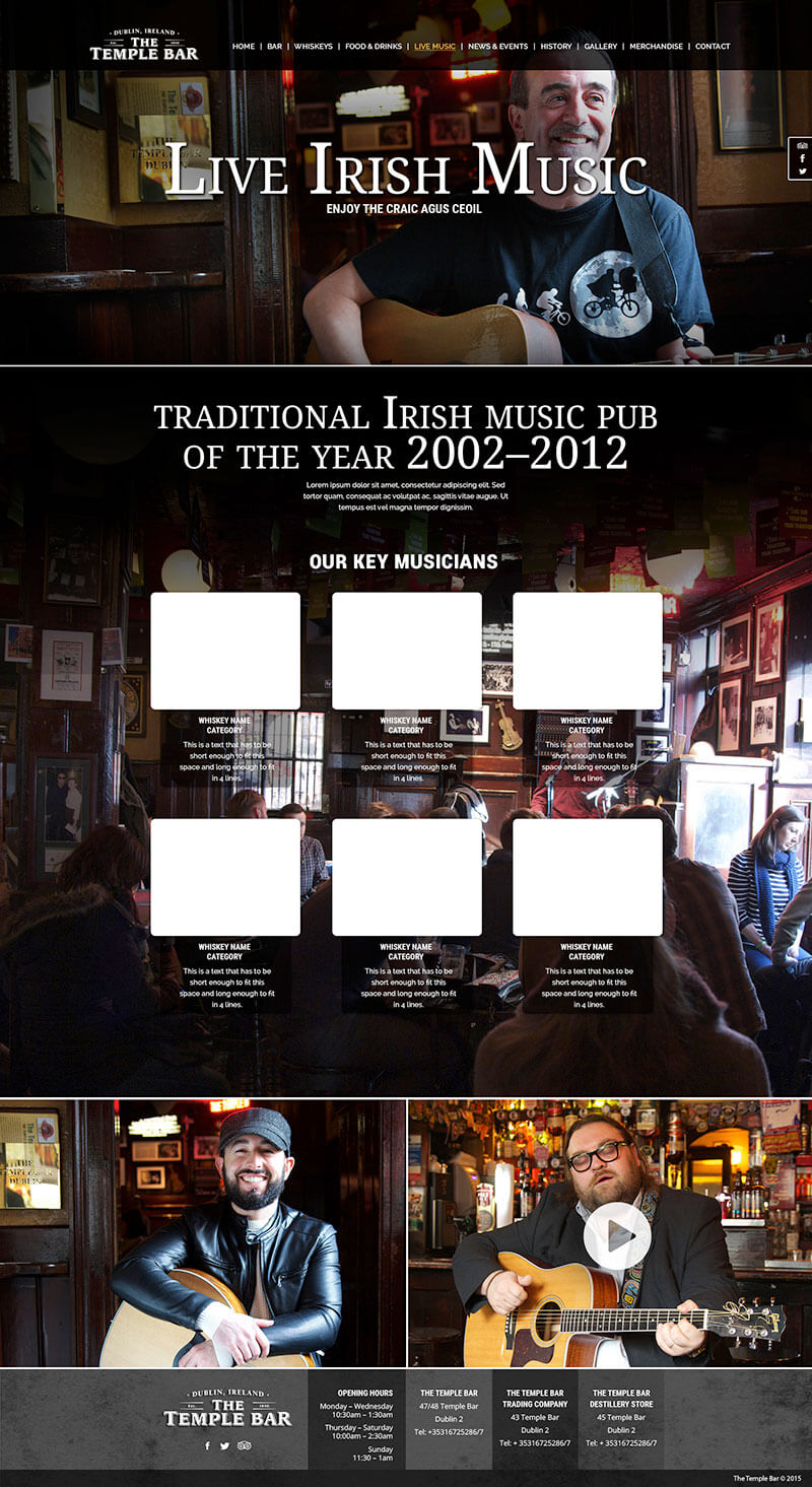 Temple Bar Pub website design.