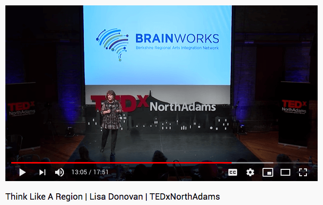 Lisa Donovan at TEDex with BRAINworks-logo
