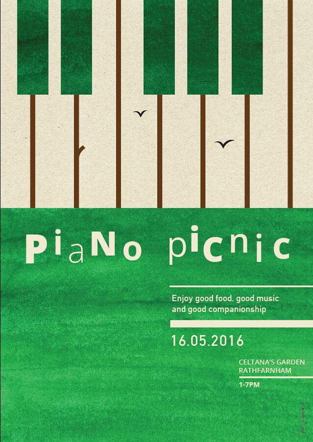 Piano Picnic 2 –poster design by Aga Grandowicz.